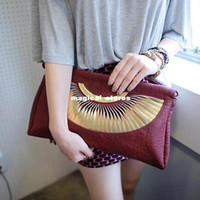Women Plain PU High Quality Fashion women vintage tassel big oversized envelope clutch party messenger shoulder bag red