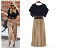 Wholesale A003 New women Splicing short sleeve Long skirt cocktail party dress Size S M L XL XXL XXXL XXXXL