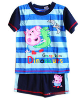 Wholesale Brand New Boys Peppa Pig amp George Pig with Dinosaur Striped Short Sleeve T Shirt amp Shorts piece Set Cartoon Children Summer Suits T