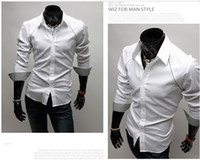 Wholesale new style Character chest abutted seam design lining applique men s Slim long sleeve shirt