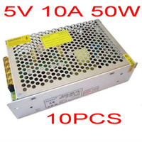 Cheap High Quality 10 pcs DC 5V 10A Switch power supply 50W LED power adapter Free shipping