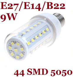 CREE 9W Led Bulbs Light E27 E14 Led Corn Lamp With Cover 360 Angle 44 Led 5050 SMD Chips 110V 220-240V