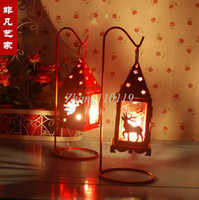 Wholesale Min order is mix order Designs Red amp White Christmas Reindeer Candle Holders European Lantern Christmas Decoration gifts