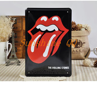 Wholesale 20 cm The Rolling Stones Red Tongue Sexy Mouth Tin Plate Wall Decor Metal Plaques Iron Poste Christmas Giftr