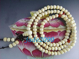 Free Shipping - 8 mm beads Tibetan Natural white sandalwood Mala with Red agate beads meditation yoga 108 Beads Prayer Mala necklace