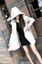 Wholesale Fashion Women s Casual Long Windbreaker Jacket with A hat Tucking Handsome Slim Overcoat Outer Wear