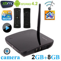 Wholesale TV01 CS968 Android Smart TV BOX RK3188 Quad Core Camera GB GB Microphone Bluetooth XBMC D Movie Game Media Player NEO A2 Air Mouse