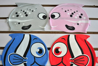 Wholesale Children Water Sports Swimming Caps Kids Cartoon Cute silicone hats fish caps colors many designs Hot Sale