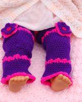 0-6Mos baby embellishment - Crochet Baby Leggings Legwarmers Winter Warmers Flower Embellishment Baby Leggings Leg or Arm Warmers pair