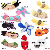 Wholesale Baby Infant Snai Frog Hatl Mouse Costume Crochet Knitted Hat Cap Girl Boy Diaper Dogs Mermaid Crochet Cotton Knit Custome Set