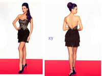 Wholesale High end Party Dresses Sheath Column Sweetheart Mini short Embroidered Feather Satin Black Cocktail Dresses