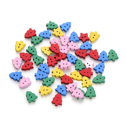 Wholesale ZFI2 New g Xmas Tree Sewing Wooden Buttons Loose Beads Fit Scrapbook Craft Clothes Decpration Mixed Colors Holes