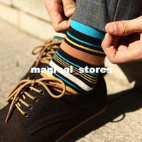 Foot Cover Men Cotton Free shipping multi color stripe cotton casual socks men socks British fashion wild temperament models can be used with shoes