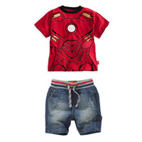 Wholesale Summer Children Suit new style Lovely Iron Man short sleeve T Shirt jeans Boys Sets year Baby Kids Clothes set TS48