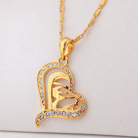 Wholesale New Hearts Islamic Allah Pendant Charms Necklace Religious Muslim Jewelry Gift For Women K Real Gold Plated Jewellery MGC P212