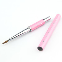 Nail Art Brushes acrylic paintings sale - Supernova Sale High Quality Top Grade Pink Color Metal Handle Acrylic Nail Art Brush Set Painting Design Pen Nail Tips Tool P218