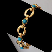 Wholesale 2013 New Turquoise Bracelets Bangles For Women K Real Gold Plated Jewelry Bangles Turkey Stone Fashion Jewellery MGC H5141