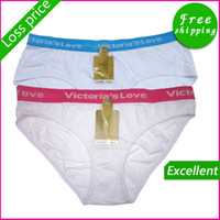 Wholesale Foreign orders fashion red blue with classic white ladies large cotton love briefs underwear for women
