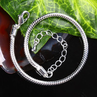 Wholesale 30pcs Silver Plated Adjustable European Chain Beads Lobster Clasp Bracelet Jewelry Finding