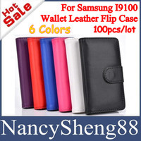 PU Leather+Plastic For Samsung Wallet PU Leather Cover Case 100PCS Top-Rated Book Style Wallet PU Leather Flip Cover Case with Credit Card Holders for Samsung Galaxy S2 SII I9100 DHL EMS Free [SS-09]