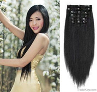 Wholesale hot selling indian virgin human hair clip on extension lady s fashion show