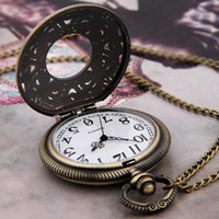 Wholesale Antique Brass Metal Necklace Pendant Round Clock Watch Fashion Jewelry