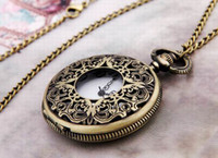 Casual antique brass clock - Antique Brass Metal Necklace Pendant Round Clock Watch Fashion Jewelry