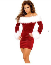 Wholesale Sexy Movies Free - Mermaid Dress Sexy Stage Wear Long Sleeve Tight Dress Santa Claus Costume Fancy Christmas Costume Women Suit outfit#0338
