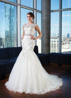 Sexy wedding dress belts - 2014 New Arrival Illusion Bateau Neck Cap Sleeves Beaded Belt V back Applique Lace Tulle Cheap Bridal Dress Covered Button Wedding Dresses