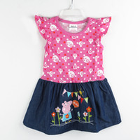 Summer A-Line Knee-Length H4349# Nova new kids summer wear 18m-6y baby girls denim dress cartoon PEPPA PIG clothes cotton cap sleeve printing polka dot dress tops