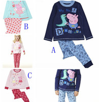 Wholesale children kids peppa pig and george boy boys long sleeved top amp pants set pajamas pjs suits kids cartoon pyjamas T pc set