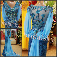 Wholesale IN STOCK Peacock Blue V neck Ribbon Sequined Appliques Sleeveless Mermaid Court Train Prom Gowns Evening Dresses K