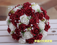 Wholesale High Quality Red Fabric Rose Handflower Wedding Bridal Flower Bouquet Red With White
