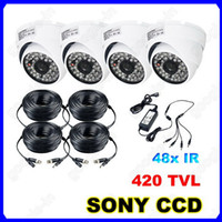 Wholesale 4pcs TVL SONY IR LED CCD Vandal Dome Waterproof CCTV Security Surveillance Outdoor Camera x m Power Cable For DVR System