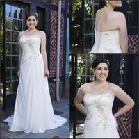 Wholesale High Quality Low Price Plus Size Applique Sweetheart Neckline Sheath Wedding Dresses White Ruched Lace Up Column Bridal Gowns Beach