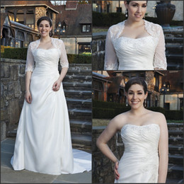 Wholesale Custom Made Alencon Lace Gown - Free Shipping Applique Beaded Strapless A-Line Ivory Wedding Dresses With Semi-Sheer Alencon Lace 1 2 Long Sleeve Jacket Bridal Gowns Chapel