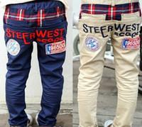Wholesale Boys Girls Casual Pure Cotton Trousers Child Garment Letter Logao Pattern Leisure Pants Child Clothes Jeans COLOR D0411