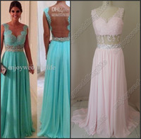 Wholesale Sexy Sleeveless Blue Chiffon Prom Dress Beaded Crystal Lace Top Backless Evening Gown WD0224 to get one bracelet free