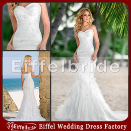 Wholesale Sweetheart White Mermaid Tiered Wedding Dress Lace Appliques Beach Bridal Gown