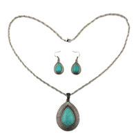 Wholesale Vintage Women s Jewelry Set Water Drop Necklace Earrings Turquoise Antique Silver Plated Wedding Set sets VJS