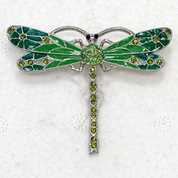12pcs lot Wholesale Crystal Rhinestone Enameling Dragonfly brooches Fashion Pin Brooch jewelry gift