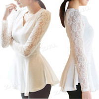 sexy blouses - S Women S Flared Peplum Sexy tops HOT Style Lace Sleeve Blouse Size S M L XL XL