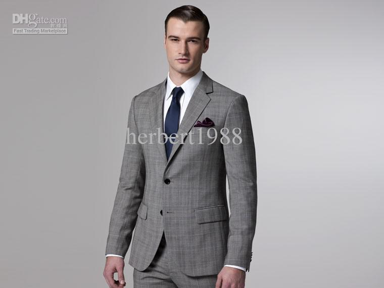 2017 Classical Tailor Made Grey Men Suits 2015 For Wedding Single ...