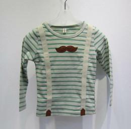 Wholesale 2013 NEW kids T shirts PU Beard striped boy False suspender Children s boys long sleeve autumn O342