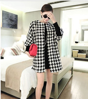 Wholesale Autumn new Korean women Lady girls woolen houndstooth Half Sleeve trench coats D