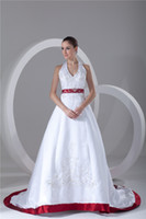 Wholesale Gorgeour A Line Halter Red White Strapless Chapel Train Embroidery Bridal Gowns Wedding Dresses