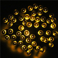Wholesale 100 LED m Yellow Waterproof Solar String Fairy Lights Christmas Garden Halloween Lighting DHL Indoor Outdoor Decoration