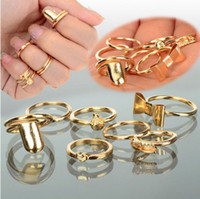 Wholesale 84Pcs set Gold Skull Bowknot Heart Nail Simple Band Mid Finger Top Stacking Rings Set rings Jewelry JR15071