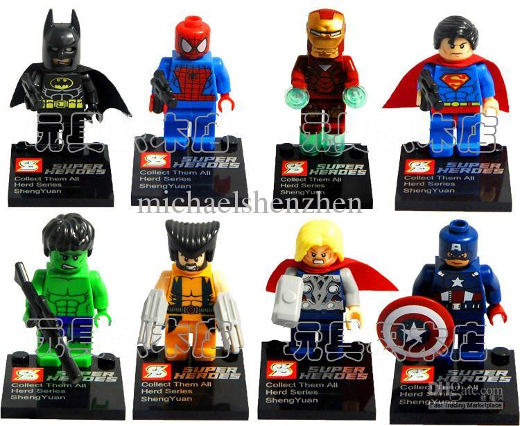 Buy Super Heroes Avengers Iron Man Hulk Batman Wolverine Thor Building Blocks Sets Minifigure DIY Bricks Toys