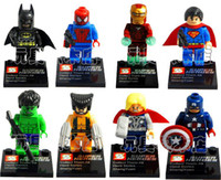 Wholesale Super Heroes The Avengers Iron Man Hulk Batman Wolverine Thor Building Blocks Sets Minifigure DIY Bricks Toys